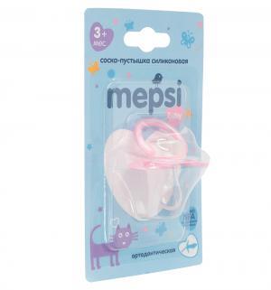 Соска-пустышка  Ортодонтическая силикон, с 3 мес, цвет: розовый Mepsi