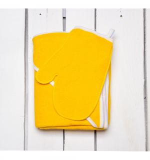 Комплект  полотенце/рукавица 90 х 110 см, цвет: желтый Утенок
