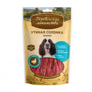 Лакомство  Утиная соломка нежная для взрослых собак, 90г Деревенские лакомства