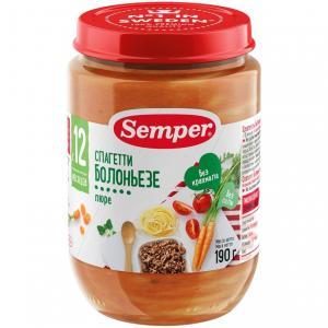 Пюре  спагетти болоньезе с 10 месяцев, 190 г Semper