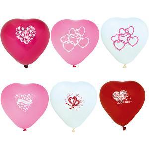 Воздушные шары Action! Сердечки С принтом I Love You, разноцветные, 10 шт