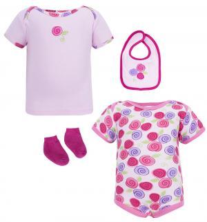 Подарочный набор боди/футболка/брюки/нагрудник/носки/сетка для стирки , цвет: розовый Hudson Baby