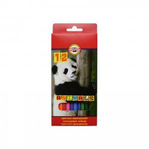 Набор карандашей цветных ЖИВОТНЫЕ, 12 цв KOH-I-NOOR