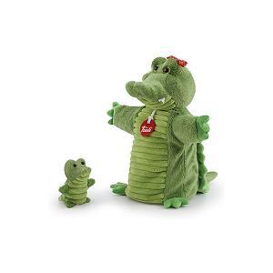 Игрушка на руку  Крокодил с крокодильчиком, 26x24x11 см Trudi. Цвет: зеленый