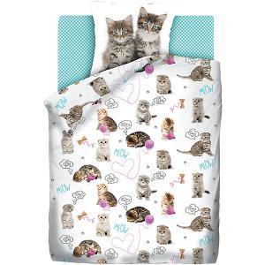 Детское постельное белье 1,5 сп 4 YOU Grey kittens 4YOU. Цвет: белый