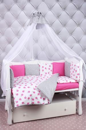 Комплект постельного белья  Sweet, цвет: белый/розовый 8 предметов Amarobaby