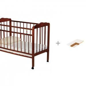 Детская кроватка  Женечка-1 колесо с матрасом кокосовым Плитекс Юниор 120x60x6 Russia