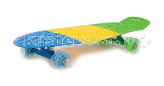 Скейт пластиковый 27х8 с колесами Monster Moove&Fun