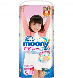 Подгузники-трусики  XL для девочек (12-17 кг) 38 шт. Moony