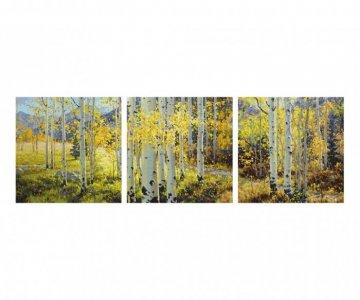 Картина по номерам Триптих Золотой октябрь 120х40 см Schipper