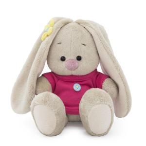 Мягкая игрушка  Малыши Зайка Ми в малиновой футболке с пуговкой 15 см Budi Basa