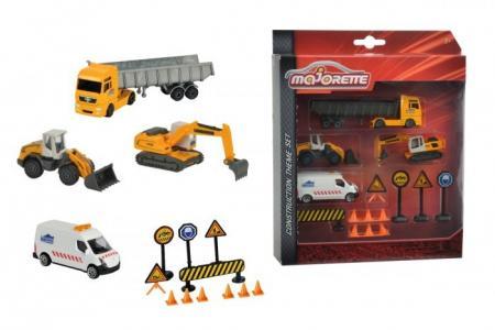 Набор строительной техники с дорожными знаками 13 см и 7.5 Majorette
