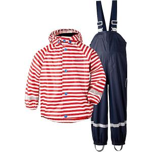 Комплект Didriksons Slaskeman Printed: куртка и полукомбинезон. Цвет: красный