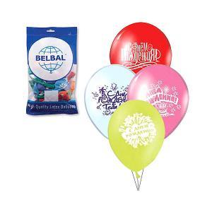 Воздушные шары 12 Веселая затея С днем рождения 50 шт, 30 см (8 рисунков, цветов)