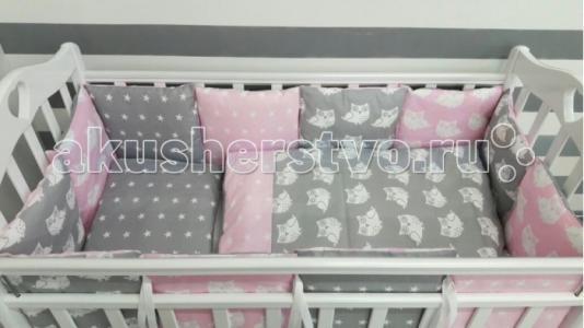 Комплект в кроватку  Совы (6 предметов) с бортиками-подушками ByTwinz